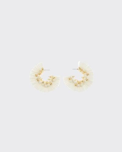 Raffia Fringe Hoop Earrings, White