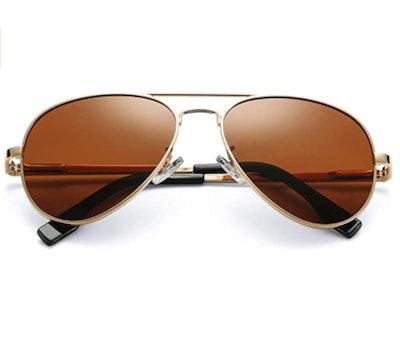 Coasion Polarized Aviator Sunglasses for Juniors