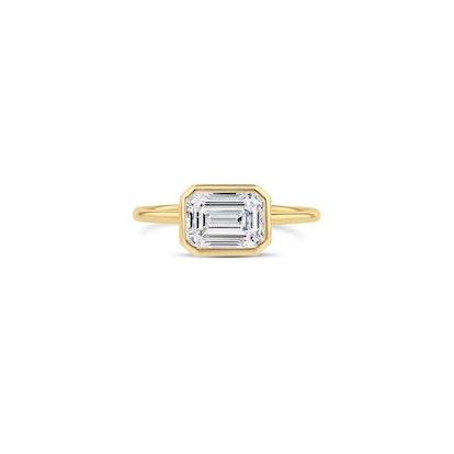 East-West Emerald-Cut Diamond Bezel Ring