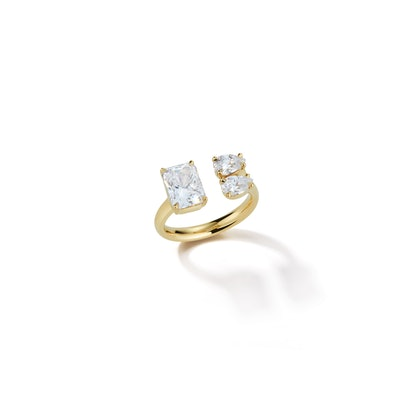 Emerald Cut and Double Pear Diamond Open Ring