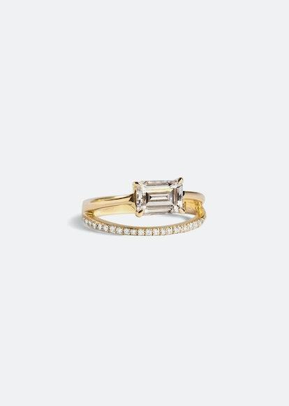 Emerald Sunset Pavé Ring