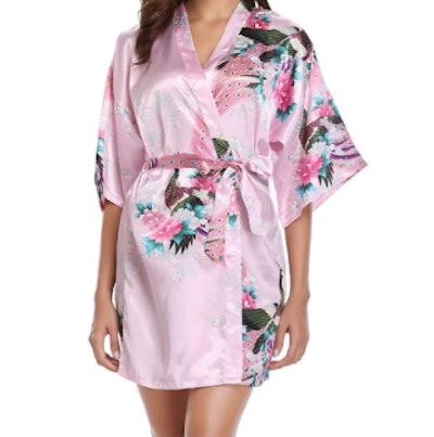 Vlazom Short Satin Kimono Robe