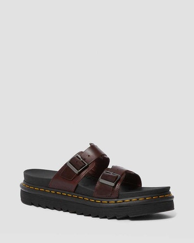 Myles Brando Leather Buckle Slide Sandals