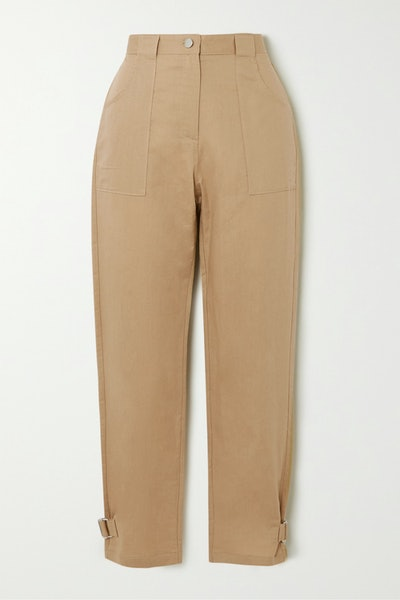 Cropped Linen and Cotton-Blend Twill Straight-Leg Pants