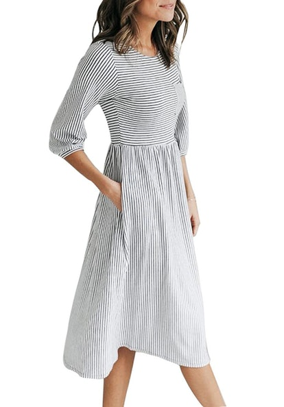 MEROKEETY T-Shirt Midi Dress