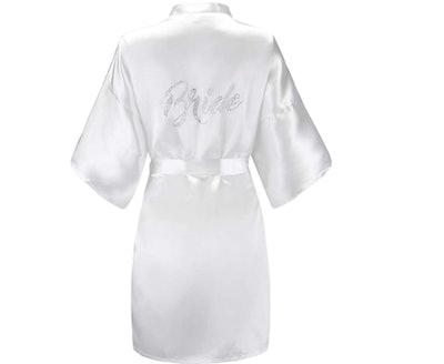EPLAZA Women's Silver Short Satin Robe