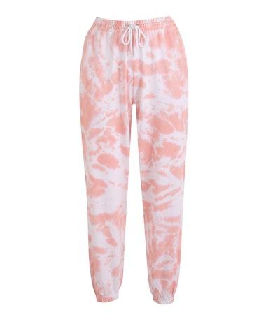 Mid Pink Tie Dye Cuffed Joggers