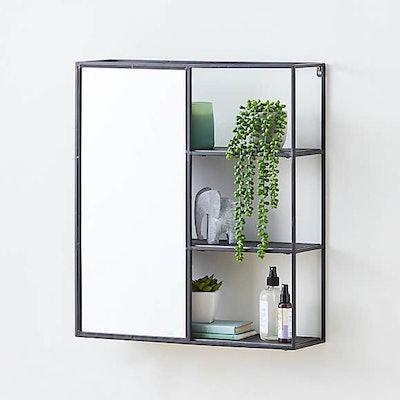 Mirrored Black Metal Shelf