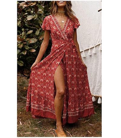 ZESICA Women's Bohemian Floral Printed Wrap Maxi Dress