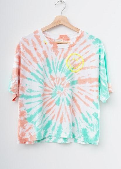 Happy Coachella Swirl Tie Dyed Tee- Honeydew