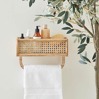 French Cane Shelf Towel Rail