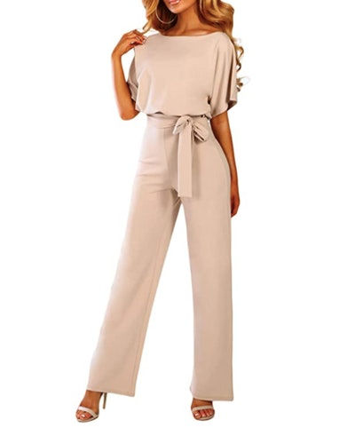 Happy Sailed Women's Belted Wide Leg Jumpsuit