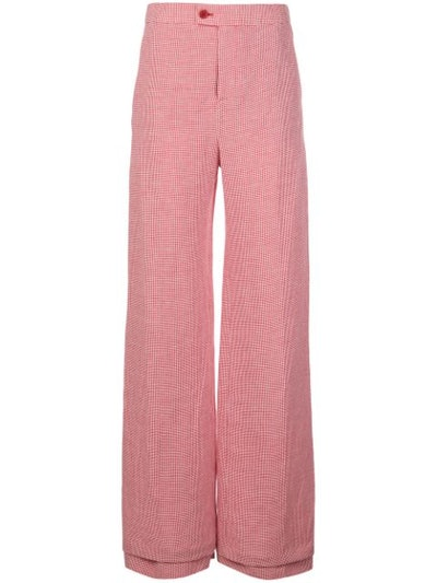 Micro Gingham High-Waisted Trousers