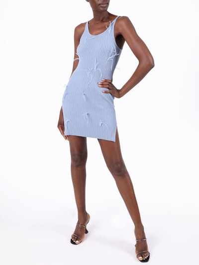 Light Blue Feathered Dress