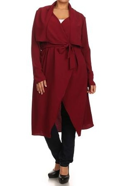Curvaceous Boutique Wine Notched Collar Duster