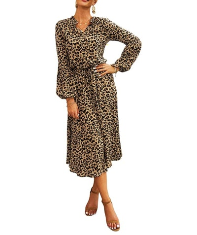 KIRUNDO Women's Midi Leopard Dress