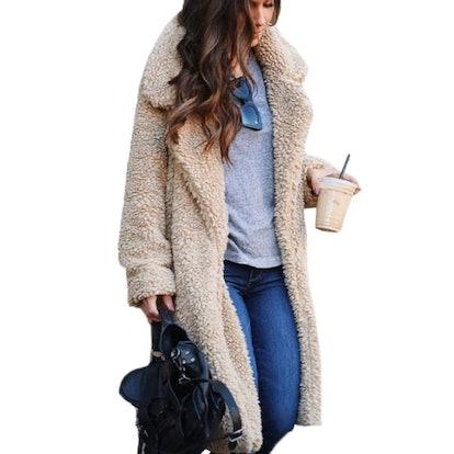 Walmart Womens Fluffy Fleece Long Trench Coat Jacket Faux Fur Borg Outwear Warm Overcoat