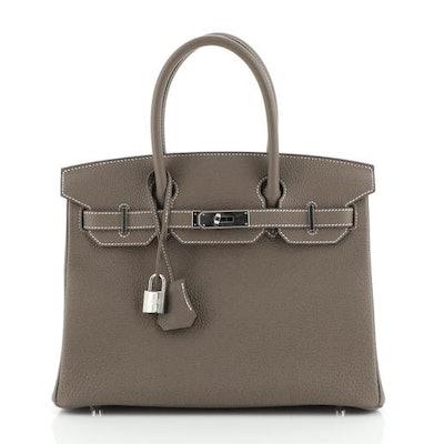 Birkin Handbag Etoupe Togo with Palladium Hardware 30