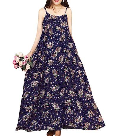 YESNO Women Casual Floral Print Long Maxi Dress