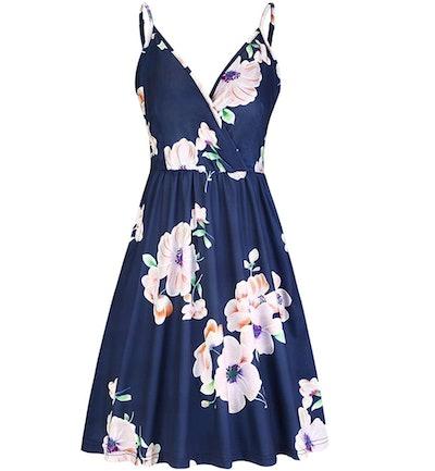 STYLEWORD Women's V Neck Floral Spaghetti Strap Swing Dress