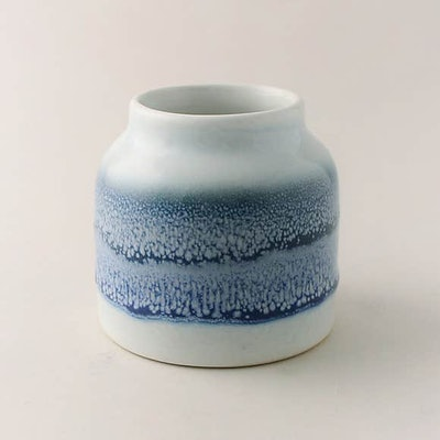 Reactive Blue Glaze Bamboo and Amber Scented Candle