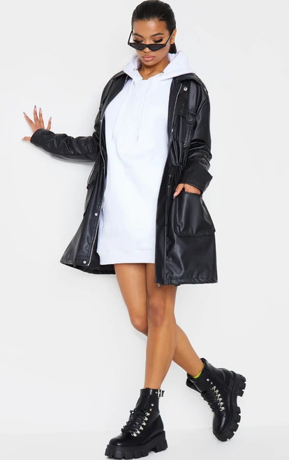 PrettyLittleThing Black Faux Leather Trench Jacket