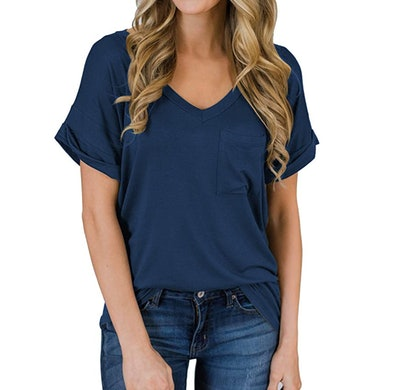 MIHOLL Women's Short Sleeve V-Neck Shirts
