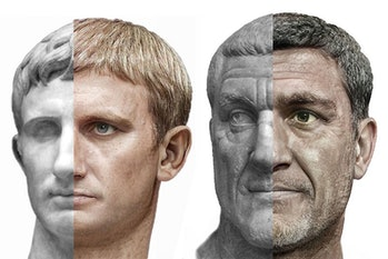 Juxtaposed images of Augustus and Maximinus Thrax's busts and machine learning rendered images can be seen. The left portion of each emperor's face is marble whereas the right portion of the face is realistic and portrait-like.