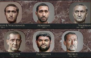 Emperor Florianus of the Principate period can be seen next to other Roman rulers. He has thick black hair and a beard. He appears to be smiling.