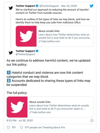 A screenshot of Twitter's support account outlining its new policy on links.
