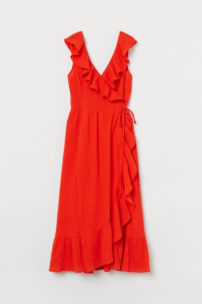 Flounce-trimmed cotton dress