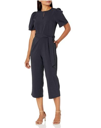 Lark & Ro Women's Puff Sleeve Cropped Jumpsuit
