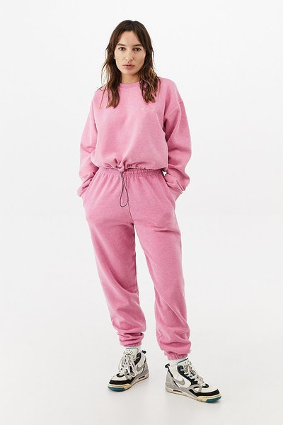 iets frans Bubble Hem Crew Neck Candy Pink Sweatshirt