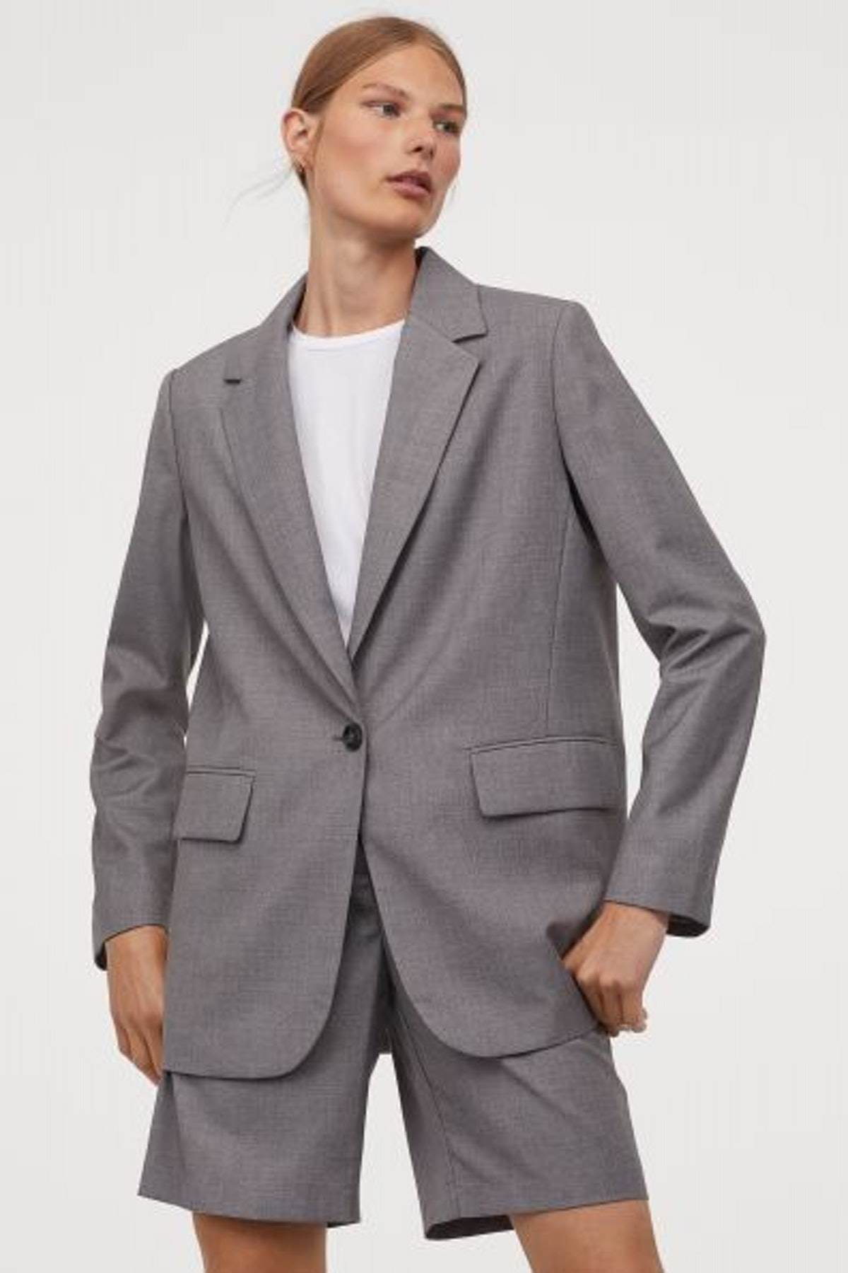 H&M Oversized Jacket in Woven Fabric with Notched Lapels