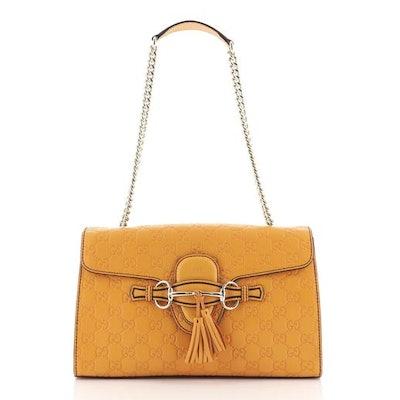 Emily Chain Flap Bag Guccissima Leather Medium