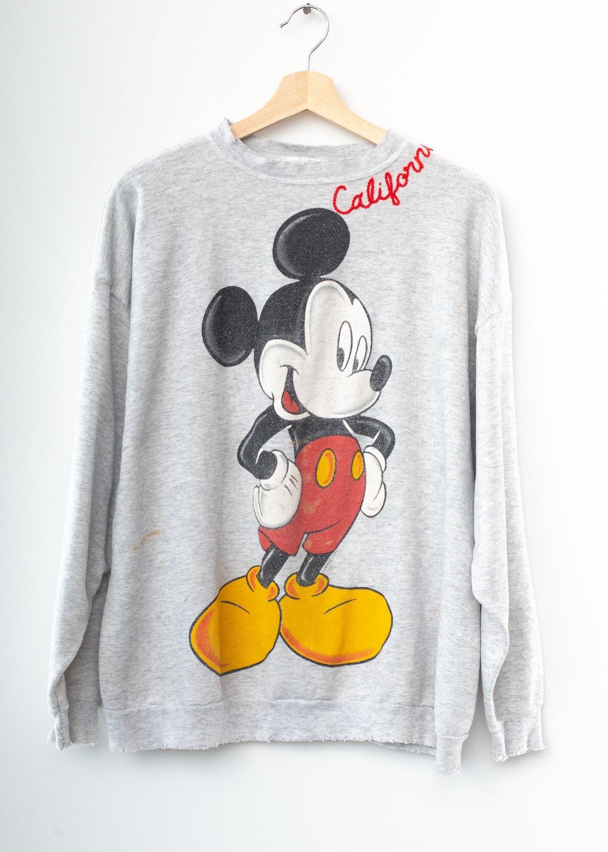 Vintage Mickey & California Embroidery Sweatshirt - Heather Grey