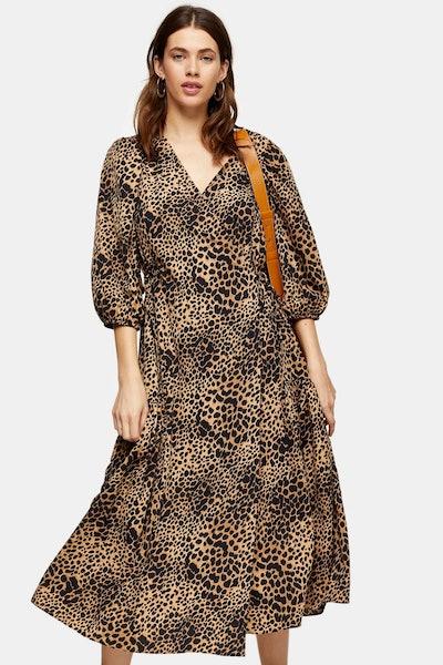Natural Animal Print Kimono Wrap Midi Dress
