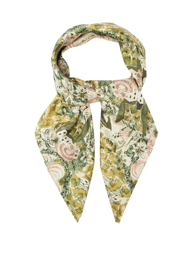 Florence Floral-Print Silk Scarf