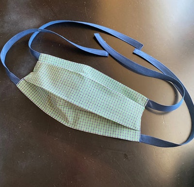 Green and Blue Gingham Cloth Face Mask