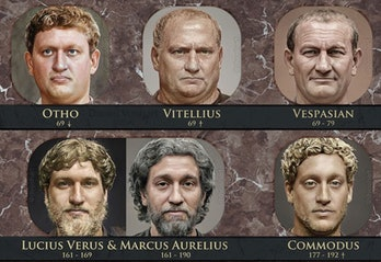 The portraits of Marcus Aurelius and Commodus can be seen surrounded by other Roman emperors of the Principate period. Aurelius, the father, has deeper gray hair and a beard while his son, Commodus, has thick and golden curls and some facial hair.