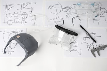 Face shield technical drawings and prototypes.