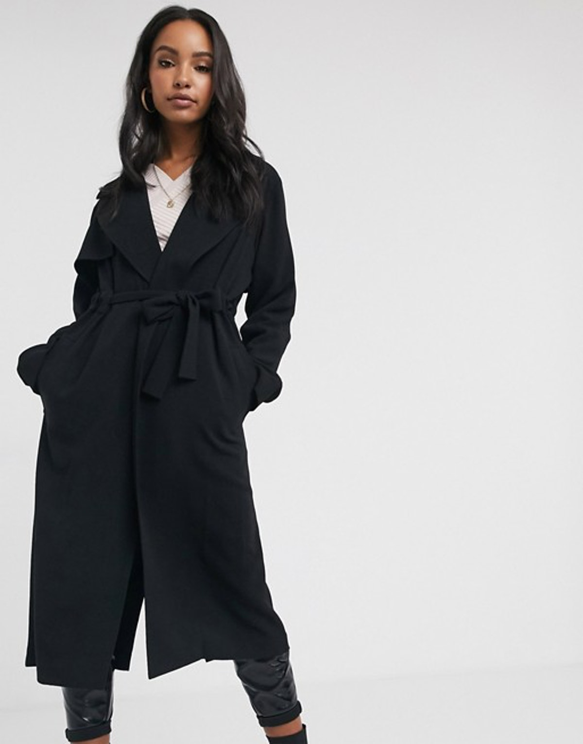 ASOS Design Waterfall Duster Coat in Black