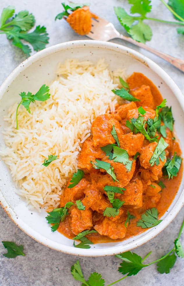 One chicken Instant Pot recipe to try is Pressure Cooker Chicken Tikka Masala from Averie Cooks.