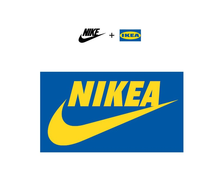 A mashup of the Nike and Ikea logos that reads Nikea