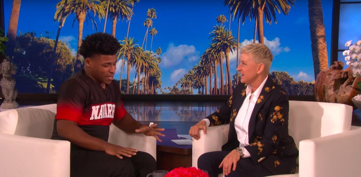 Ellen DeGeneres and Jerry Harris from 'Cheer'