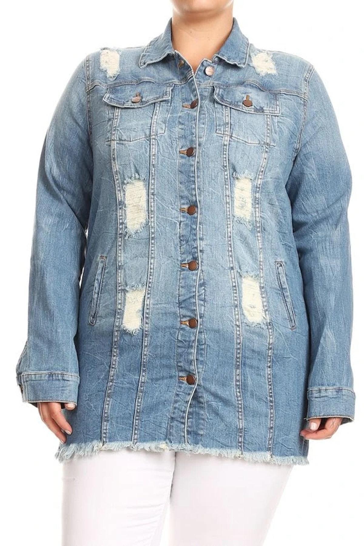 Curvaceous Boutique Light Blue Shredded Back Denim Jacket