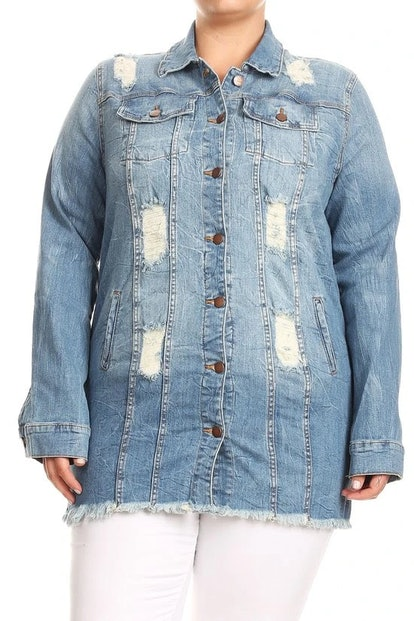 Curvaceous Boutique Light Blue Shredded Back Denim Jacket