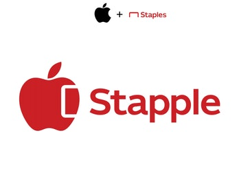 A combination of Apple and Staples' logos, resulting in a red Apple with a white staple marked into it.