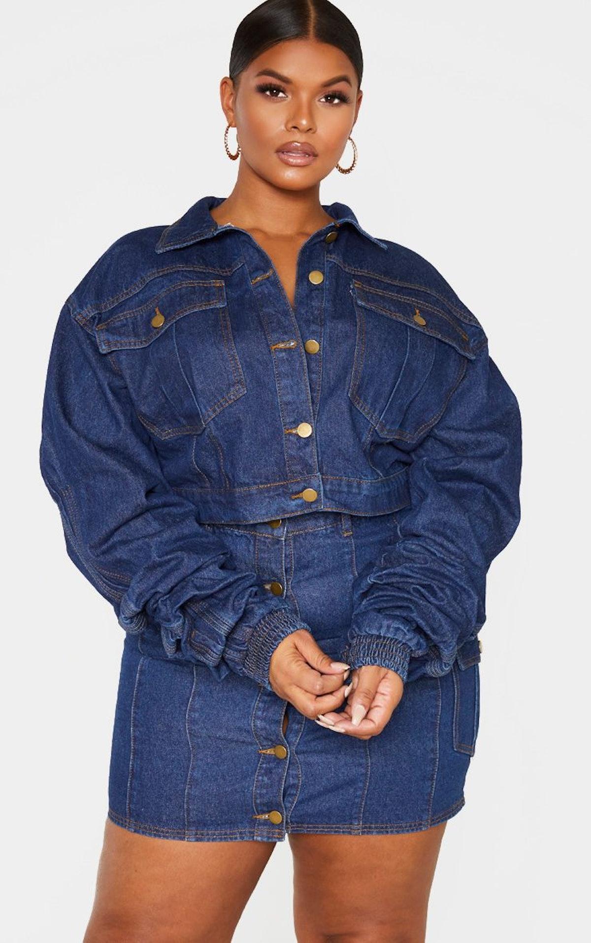 PrettyLittleThing Plus Mid Wash Oversized Cropped Denim Jacket