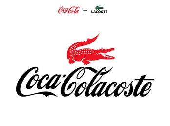 A combination of Coca Cola and Lacoste's logos, mashing up the red of the former and the alligator of the latter.